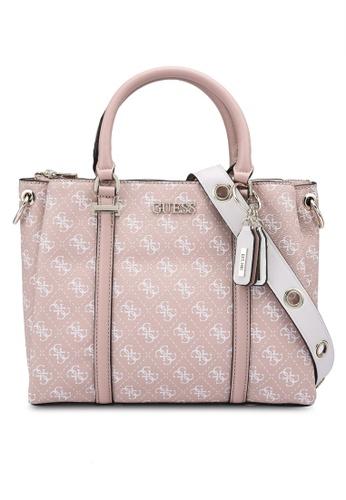 GUESS white and pink Washington Girlfriend Satchel Bag 16F5DAC51541E2GS_1