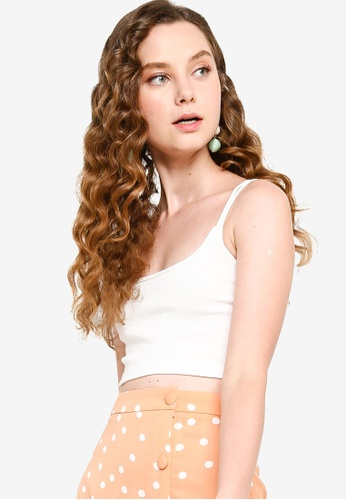 Something Borrowed white Strappy Rib Crop Top 0539FAA8F934D8GS_1