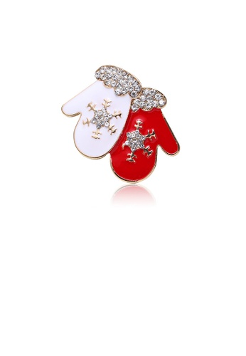 Glamorousky white Fashion and Simple Plated Gold Christmas Glove Brooch with Cubic Zirconia 6B4D7ACE9E9ADAGS_1