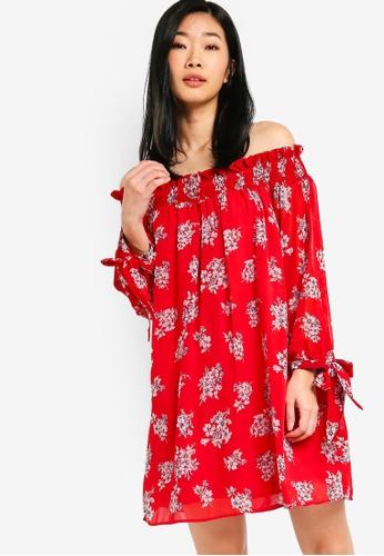 Something Borrowed red Smocked Off Shoulder Dress B193DAAB42121AGS_1