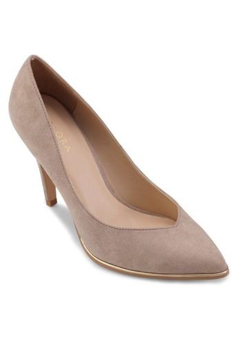 金zalora 衣服評價屬邊尖頭細跟高跟鞋, 女鞋, 鞋