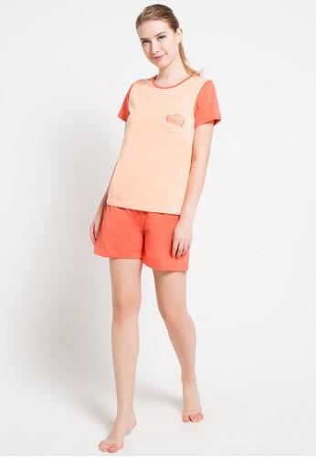 Puppy orange Short Sleeve Short Pants Bordir Cakes PU643AA00XEXID_1
