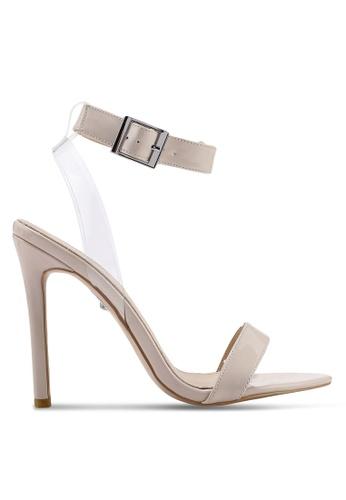 Public Desire 米褐色 漆皮透明繞帶高跟鞋 59F7FSHDC671AFGS_1