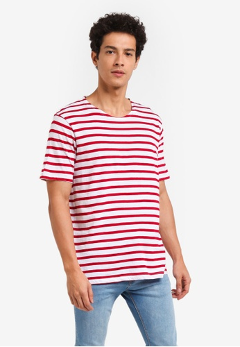 MANGO Man red Striped Cotton T-Shirt 1D95BAA0255543GS_1