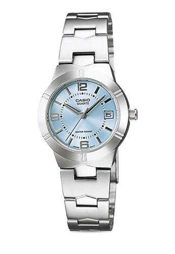 Casio LTP-1241D-2ADF 圓框日期細鍊錶, 錶類, 不esprit 童裝銹鋼錶帶