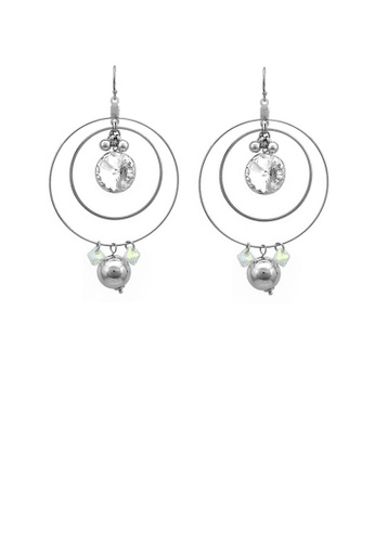 Glamorousky silver Elegant Round Earrings with Silver Austrian Element Crystal 3F741ACAB3EA06GS_1