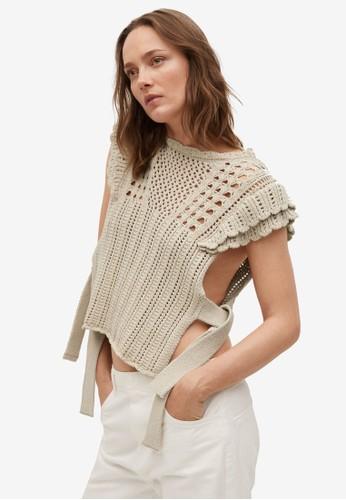 Mango grey Openwork Knit Cotton Top F26F0AAD9957CCGS_1