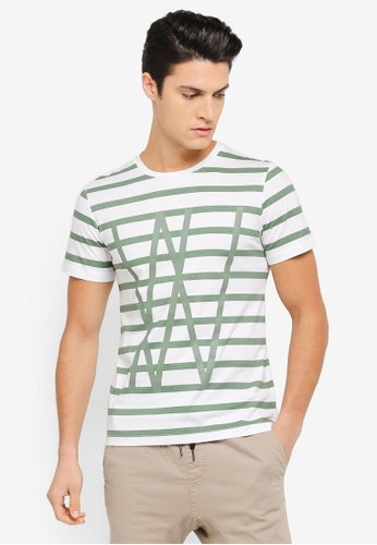 ZALORA 灰色 造型條紋T恤 91C71AAE58ADAEGS_1