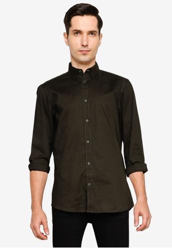 !Solid green Tyler Basic Long Sleeve Shirt 63FEDAA346D21FGS_1