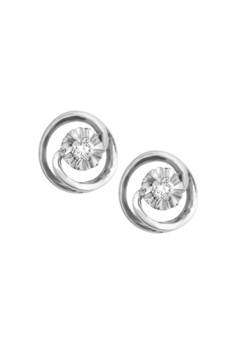 TOMEI white TOMEI Earrings of Circularity in Fulgent Sparks, Diamond White Gold 375 (E1237) 47CBCACE97F9C1GS_1