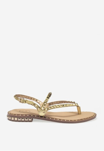 ASH gold Peps - Gold Rivets Embroidery Sandals 57690SH6476B0CGS_1
