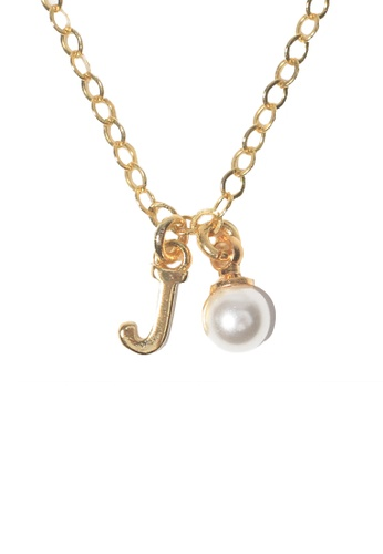 PSYNDROME gold Personalised Initial Letter Alphabet with Pearl Necklace - J 73667ACA0E8C2BGS_1