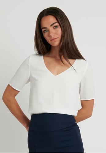 FORCAST white FORCAST Jayda V-Neck Blouse 00620AA01C0DCDGS_1