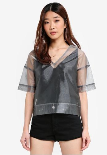 Something Borrowed grey Oversized Sheer Top BE715AA47E0562GS_1