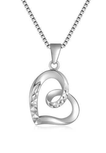 MaBelle silver 14K White Gold Faceted Heart Pendant With Chain (40cm) MA584AC13IHAHK_1