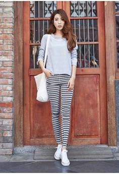 [EYECREAM] Diamond Checkered Slim Fit Pants