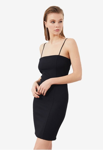 Trendyol black Thin Strap Tie Back Bodycon Dress 1B079AA565B2B8GS_1