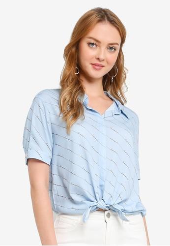 Hopeshow blue Word Prints Short Sleeve Button Blouse 6424CAA8D602FAGS_1