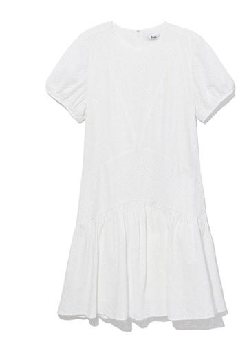 b+ab white Perforated flounce dress 46618AA8E5E3F0GS_1