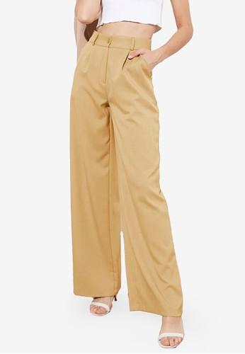 Trendyol beige High Waist Wide Leg Pants FCA4EAA9E39571GS_1