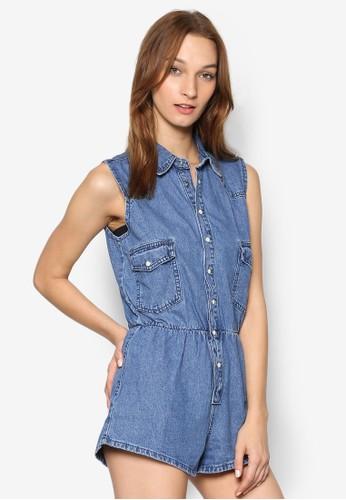 丹寧鈕扣無袖連身褲, 服zalora時尚購物網評價飾, 服飾