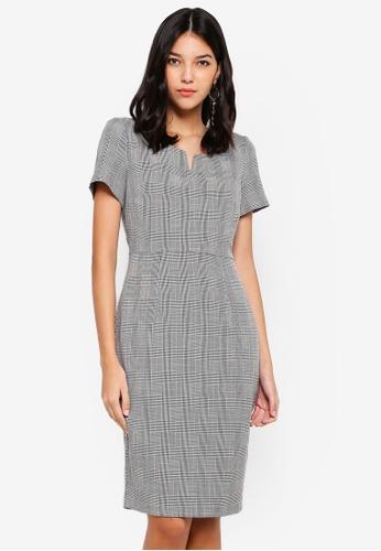 Dorothy Perkins 黑色 Check Notch Neck Pencil Dress 7CE6FAAEFDA9A5GS_1