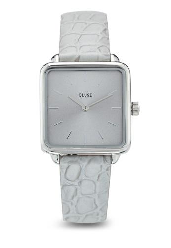 CLUSE silver La Tetragone Silver/Soft Grey Alligator Watch ED10CAC275BCEAGS_1