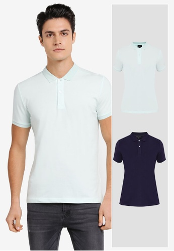ZALORA green and navy 2 Pack Pique Button Down Polo Shirt ZA819AA0T27PMY_1