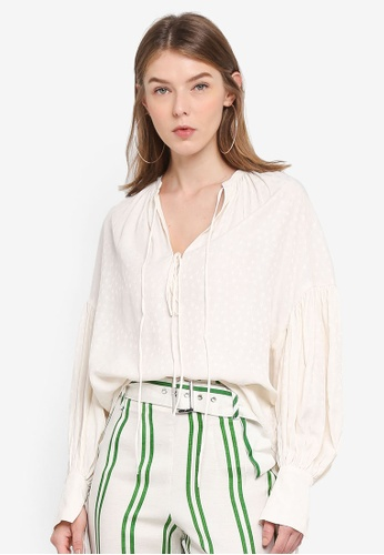 TOPSHOP white Star Jacquard Gypsy Blouse 839A0AAA7A9E82GS_1
