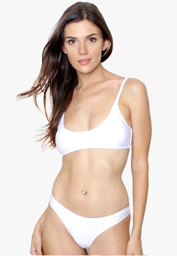 OOTD white Brazilian Scoop Neck Two Piece Bikini Swimwear A5B35US178F3E1GS_1