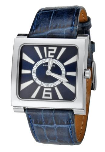 EGLANTINE silver EGLANTINE® Paris Square Unisex Steel Quartz Watch Navy Blue Dial and Leather Strap 23E94AC97BE7E5GS_1