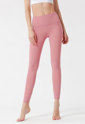 B-Code pink ZYG3046-Lady Quick Drying Running Fitness Yoga Sports Leggings -Pink 76DDAAA9937CD4GS_1