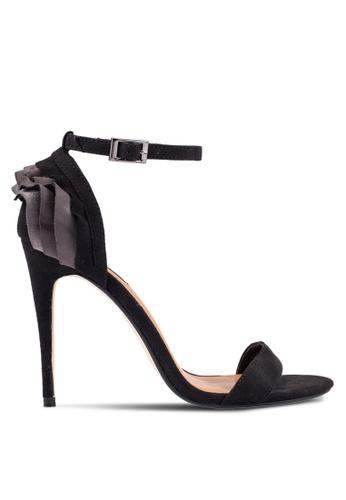 ZALORA 黑色 Ruffle 高跟鞋 5E6F9SH3D0CD9EGS_1