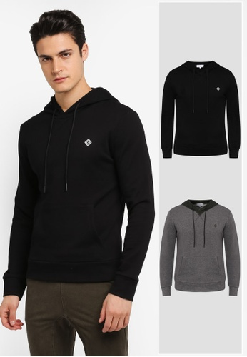 JAXON black and grey 2 Pack Hooded Logo Pullover JA219AA0T28PMY_1