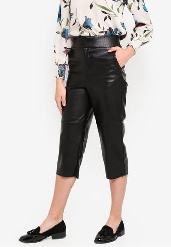 ESPRIT black Faux Leather Cropped Pants 08085AA47661A3GS_1