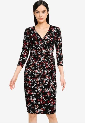 Goddiva black Wrap Style Printed Bodycon Midi Dress A0C09AAFA25891GS_1