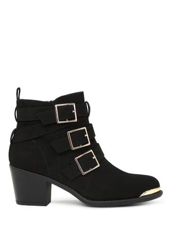 London Rag 黑色 London Rag女士黑色五金扣高跟短靴 SH1604 LO507SH0A6DDTW_1