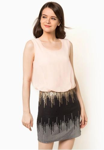 撞色亮片窄裙無尖沙咀 esprit袖洋裝, 服飾, 洋裝
