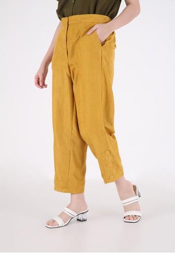 Sorabel yellow Pike Button Long Pants Dark Yellow 4EA31AA8569A07GS_1