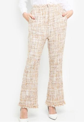 Zalia beige Tweed Crop Flare Pants AF350AA3ECB434GS_1