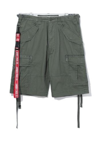 izzue green Army canvas strap cargo shorts FD1C6AA8B77EC5GS_1