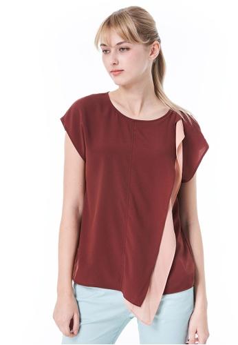 Sisley red Blouse with Ruffle C67E0AAA7E1ED9GS_1