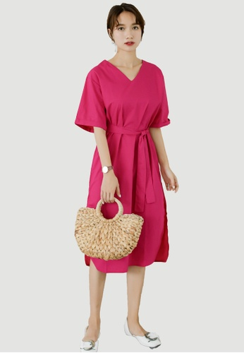 Shopsfashion red Loose Fit and Flare Midi Dress in Red SH656AA0F6H0SG_1