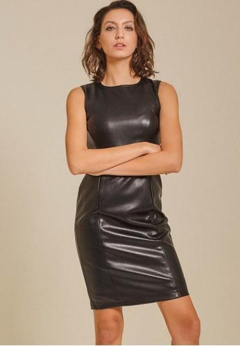 Dressing Paula black PU Leather Dress D71E8AAB6BA911GS_1