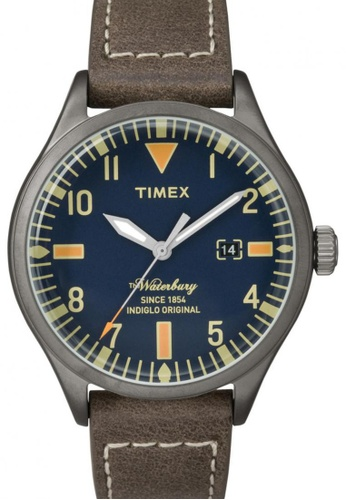 TIMEX brown Timex The Waterbury with Gunmetal Case and Leather Strap TI857AC50NRTSG_1