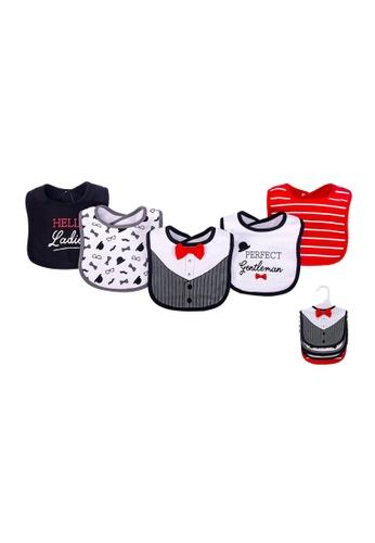 Little Kooma black and white and red Baby Boy 5pc Interlock Bibs Set 75512 E584FKC3FB594EGS_1