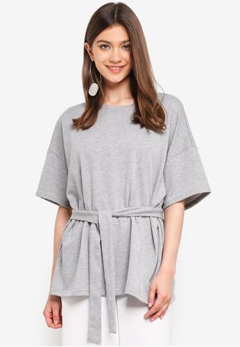 JACQUELINE DE YONG grey Frida 2/4 Tie Sweatshirt 9FD3DAA957CD23GS_1