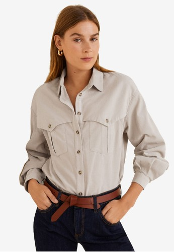 Mango beige Corduroy Shirt AD887AA5DD489CGS_1