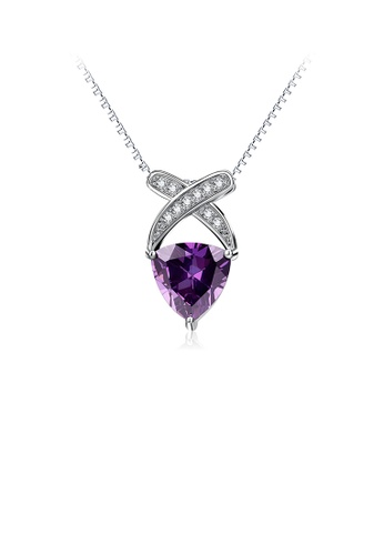 Glamorousky white 925 Sterling Silver Fashion and Elegant Geometric Triangle Pendant with Purple Cubic Zirconia and Necklace FC8B2AC6572CE6GS_1