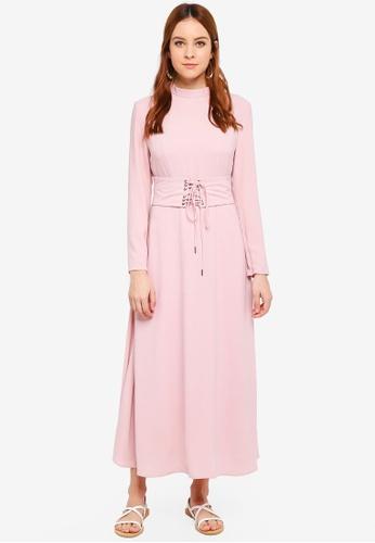 Zalia pink Laced Up Fit & Flare Dress 3BD0FAA7A19B3BGS_1